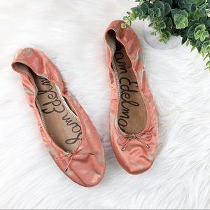 Sam Edelman satin round toe ballet flats leather